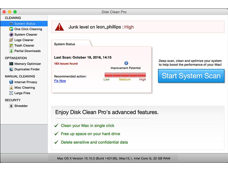 Disk Clean Pro full screenshot