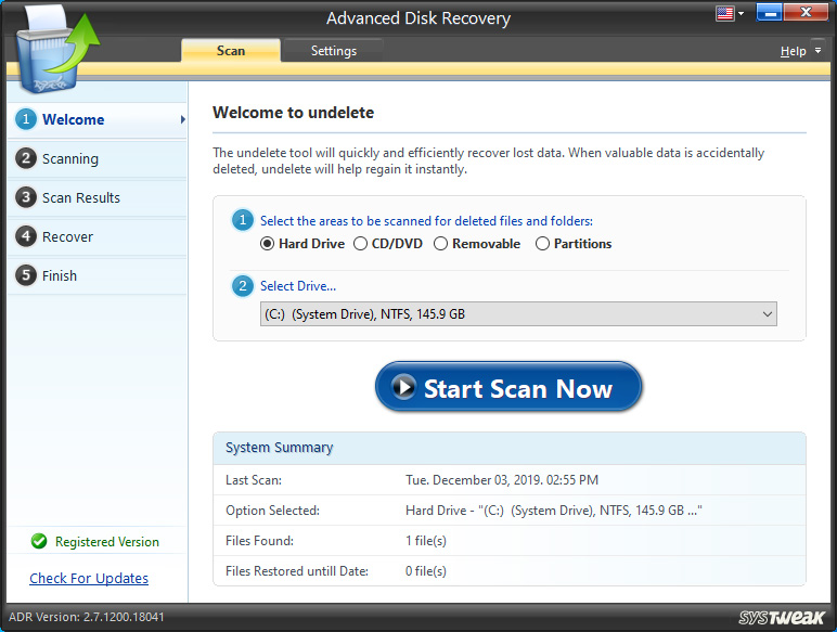 Advanced Disk Recovery Scan Type