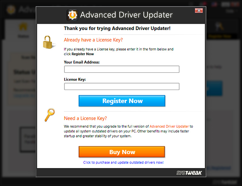 Register Advanced Driver Updater