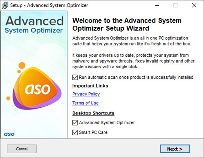 Advance System Optimizer System Status