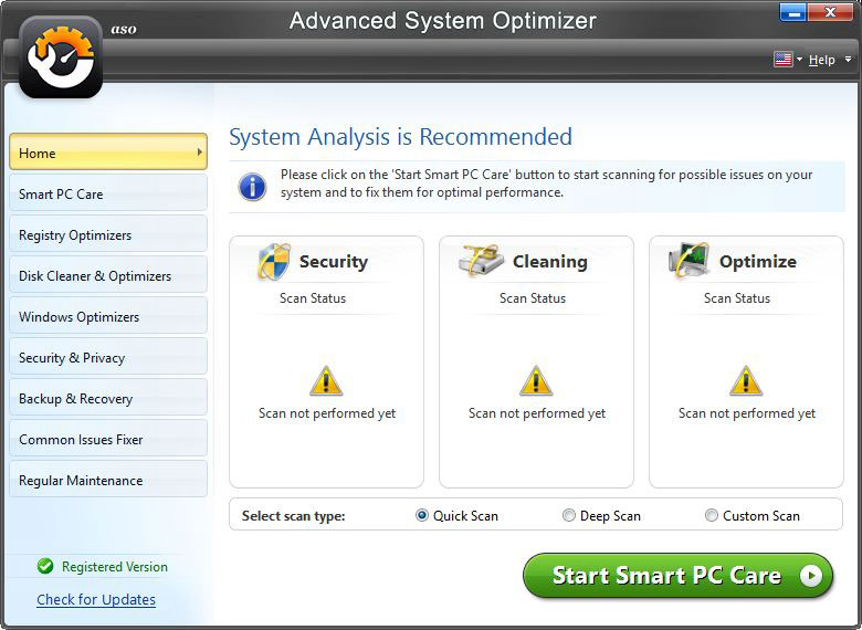Advance System Optimizer System Status
