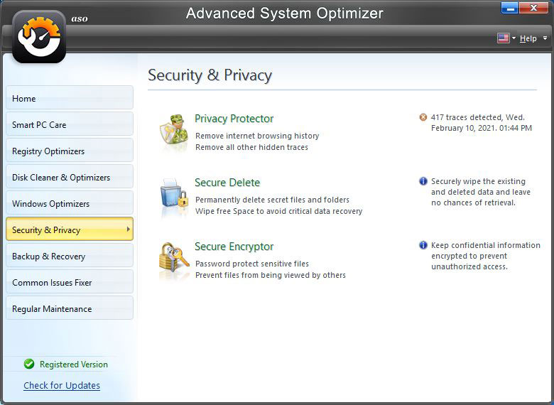 Advance System Optimizer - Security and Privacy
