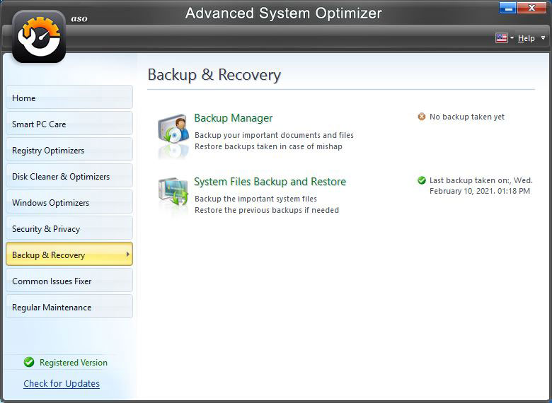 Advance System Optimizer - Backup and Recovery