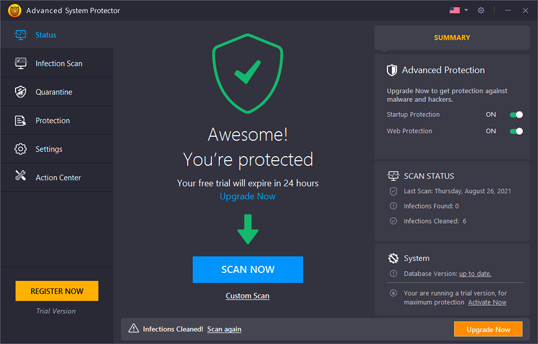 For windows virus protection- infectiion found