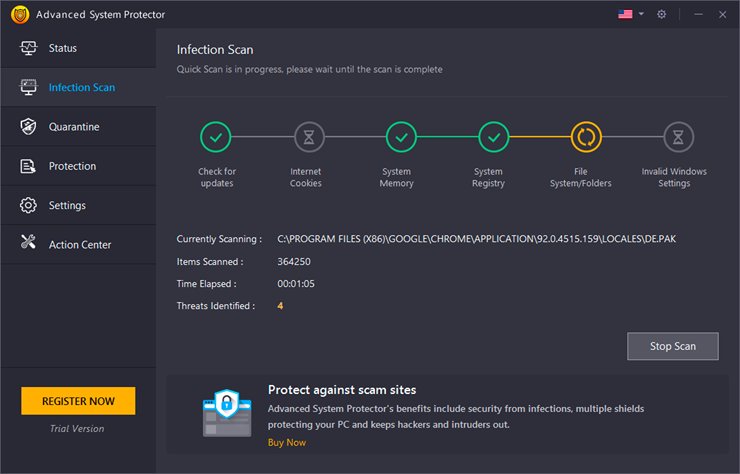 latest antivirus - scanning for infections
