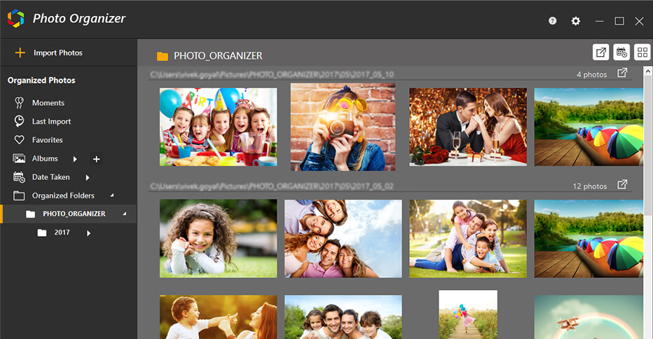 Photo Organizer Dashboard