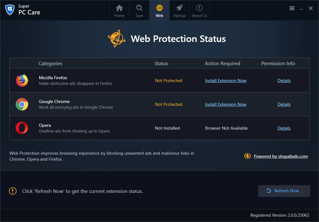 Web protection status