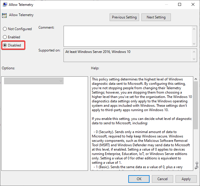 Allow Telemetry, click on option Disabled