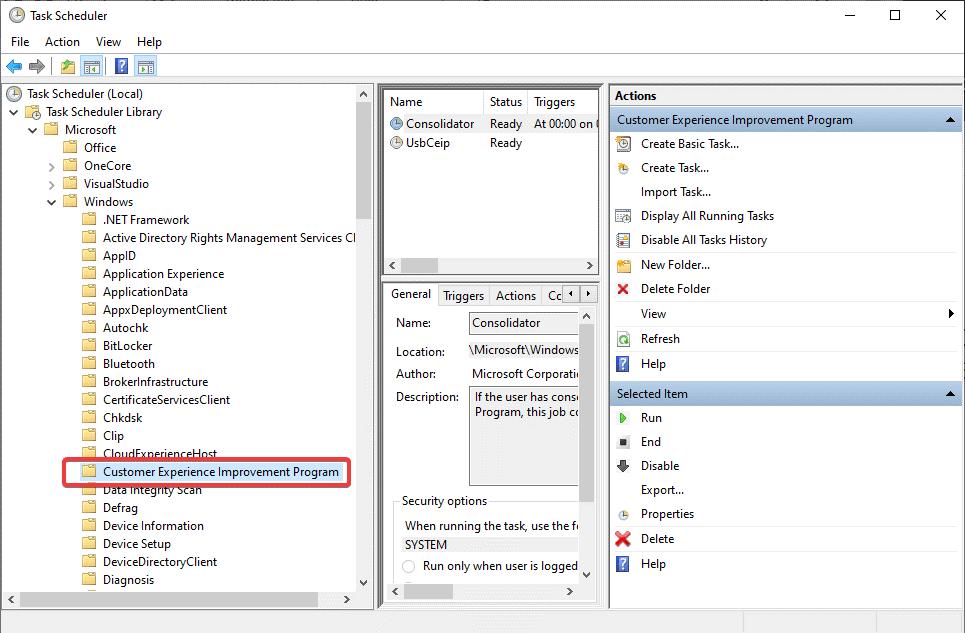 Customer Experience Improvement Program in Task Scheduler Library