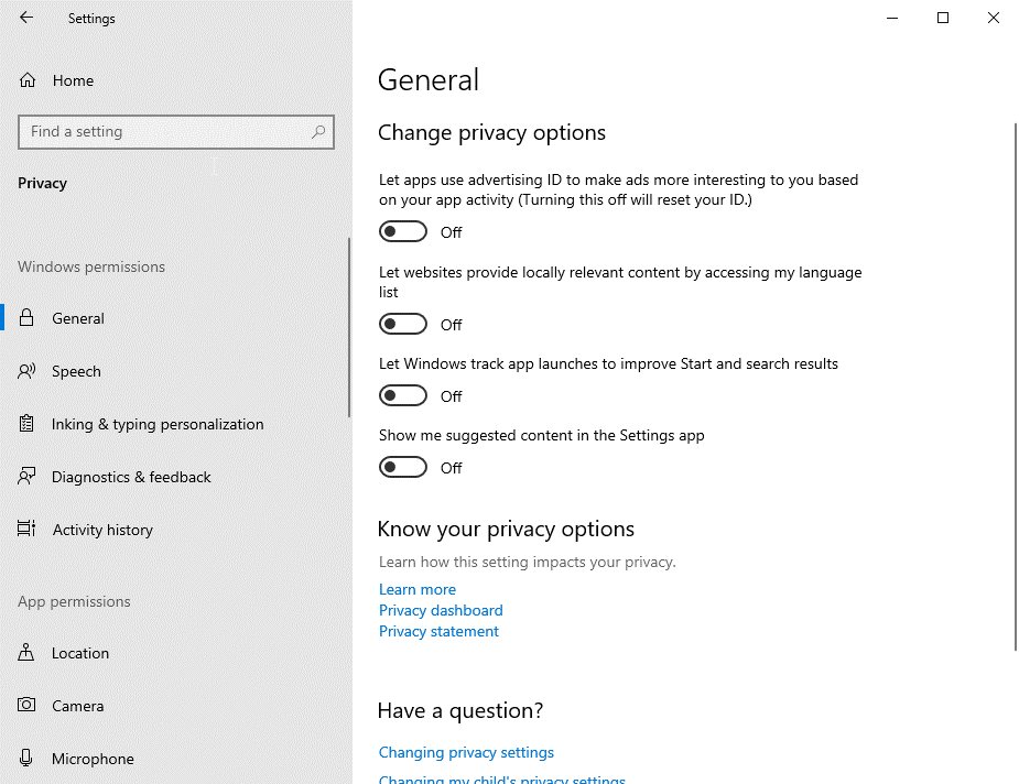 change privacy setting in windows