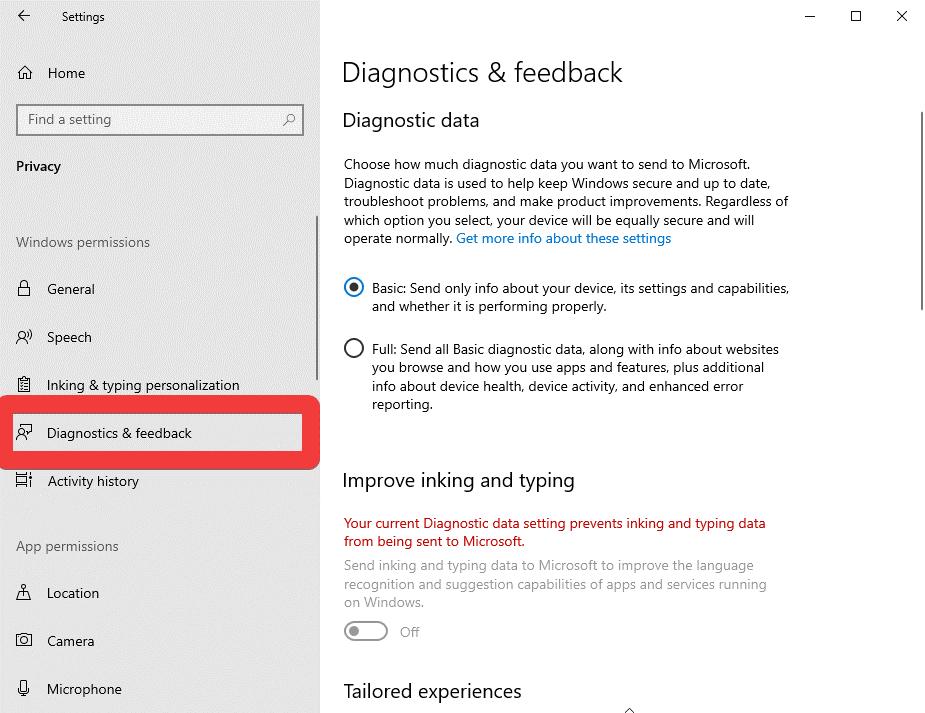 diagnostics & feedback in windows