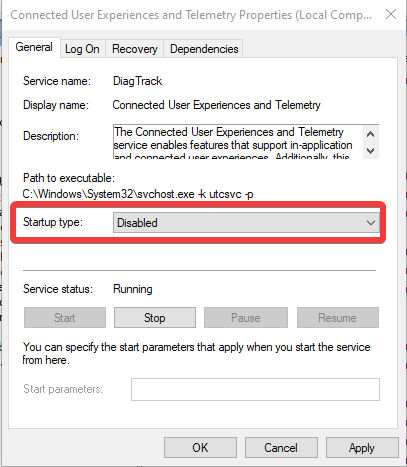 startup type disable in windows
