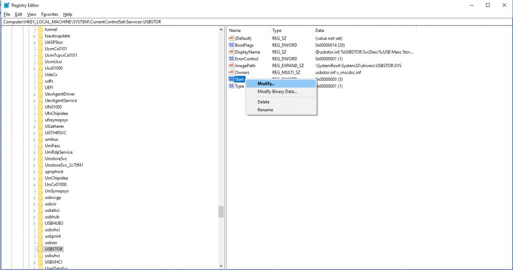 Registry Editor window modify