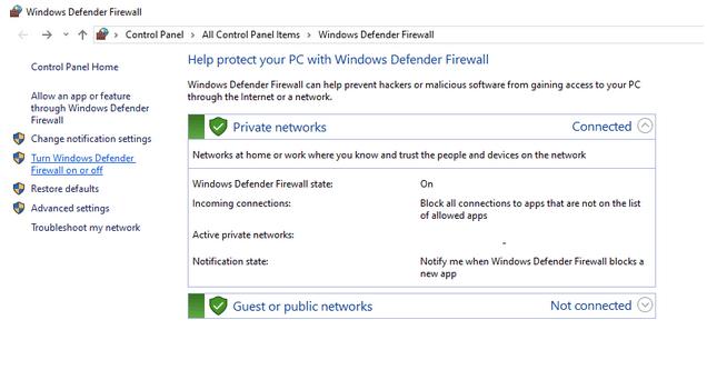 Janela Firewall do Windows Defender