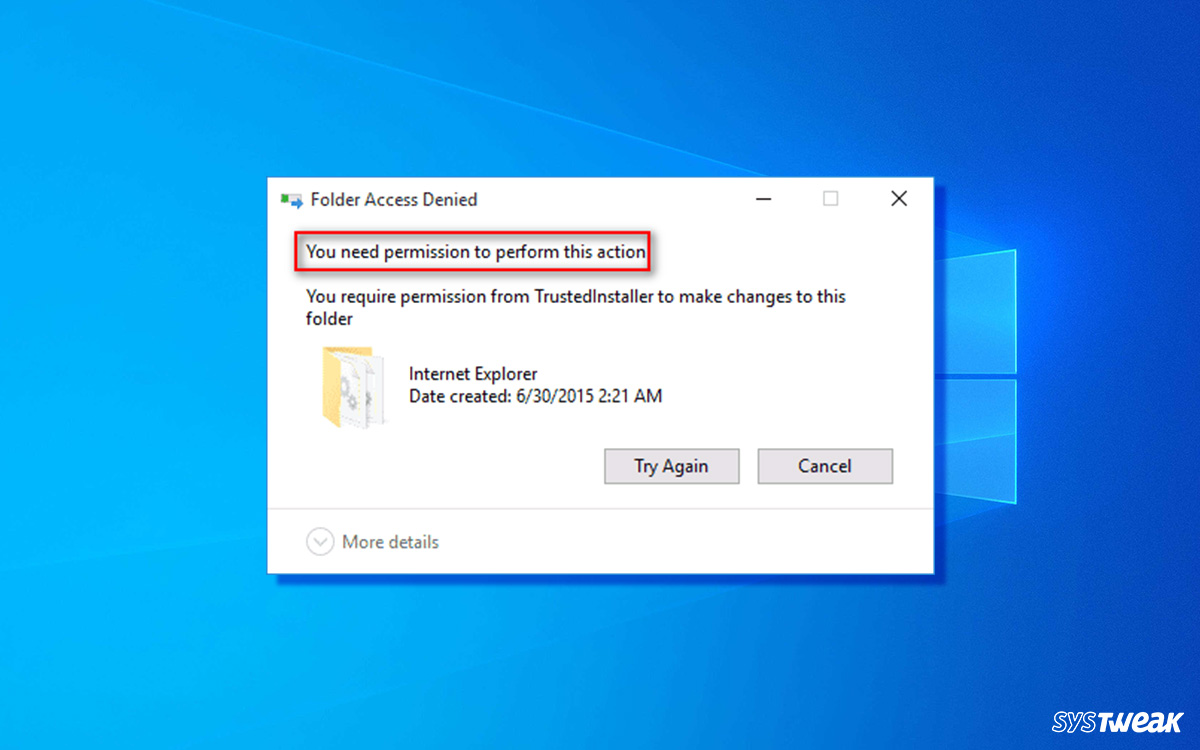 'You Need Permission To Perform This Action' On Windows Error [FIXED]